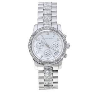 Michael Kors White Stainless Steel Runway Glitz MK5825 Chronograph Women's Wristwatch 38MM