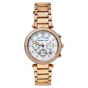 Michael Kors Mother of Pearl Rose Gold Tone Stainless Steel Parker MK5491 Women's Wristwatch 39 mm