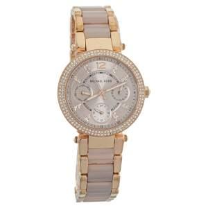 Michael Kors Rose Gold Tone Stainless Steel Parker Mini MK6110 Women's Wristwatch 33 mm