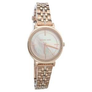 Michael Kors Mother Of Pearl Rose Gold Tone Stainless Steel MK3643 Women's Wristwatch 33mm