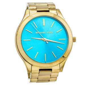Michael Kors Blue Gold Tone Stainless Steel Runway MK3265 Women's Wristwatch 42mm