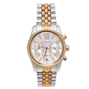 Michael Kors Silver Three-Tone Stainless Steel Lexington MK5735 Women's Wristwatch 38 mm