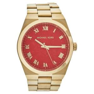 Michael Kors Coral Red Gold Tone Stainless Steel MK5936 Women's Wristwatch 38 mm
