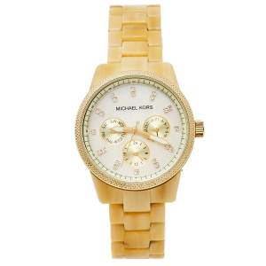 Michael Kors Mother Of Pearl Gold Tone Stainless Steel Horn Resin Jet Set MK5039 Women's Wristwatch 37 mm