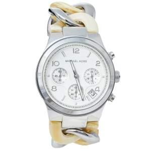 ساعة يد نسائية مايكل كورس رونواي إم كيه4263 سلسلة اكريليك و ستانلس ستيل فضية 38 مم