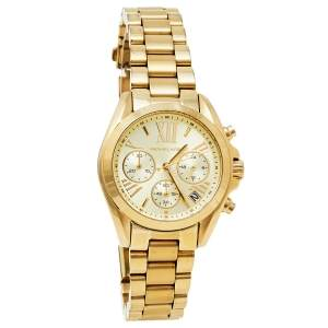 Michael Kors Yellow Gold Plated Stainless Steel Runway MK5798 Women's Wristwatch 36 mm