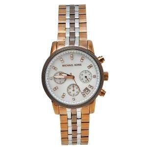 Michael Kors Mother of Pearl Three-Tone Stainless Steel MK5642 Women's Wristwatch 37 mm
