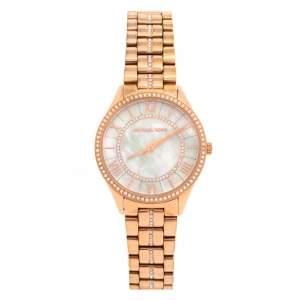ساعة يد نسائية مايكل كورس ميني لاورين بافيه إم كيه3716 ستانلس ستيل ذو لون ذهبي وردي و صدف 33 مم