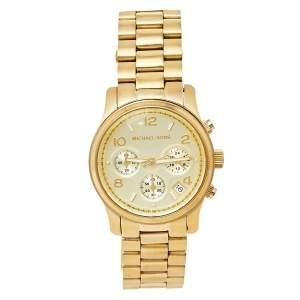Michael Kors Yellow Gold Tone Stainless Steel Runway MK5055 Women's Wristwatch 38 mm