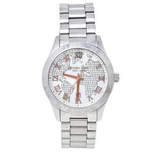 Michael Kors White Crystal Pave Stainless Steel Layton MK5958 Women's Wristwatch 44 mm