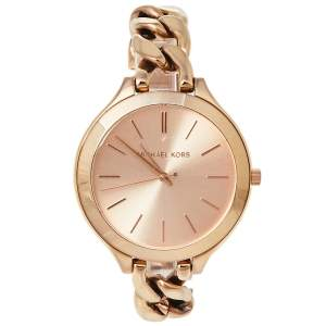 Michael Kors Rose Gold Tone Stainless Steel Slim Runway MK3223 Women's Wristwatch 42 mm