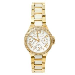 Michael Kors White Gold Tone Stainless Steel Camille MK5945 Women's Wristwatch 36 mm