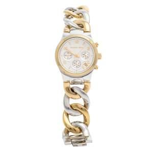 Michael Kors Silver Two-Tone Stainless Steel Twist Chain MK3199 Women's Wristwatch 38 mm