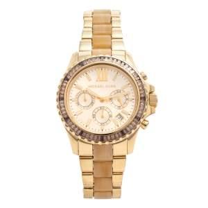 Michael Kors Gold Tone Stainless Steel & Horn Acetate Everest MK5874 Women's Wristwatch 42 mm