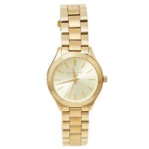 Michael Kors Gold Tone Stainless Steel Slim Runway MK3512 Women's Wristwatch 34 mm