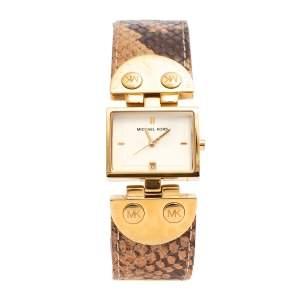 ساعة يد نسائية مايكل كورس أم كيه2144 جلد ستانلس ستيل مطلي ذهب أصفر 28 مم