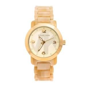 ساعة يد نسائية مايكل كورس قرن أسيتات أم كيه4204 ستانلس ستيل لون ذهبي 34 مم