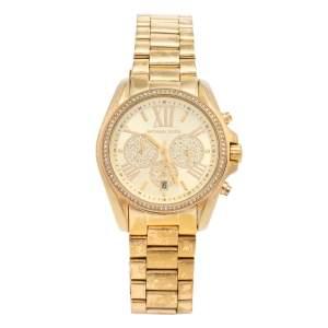 ساعة يد نسائية مايكل كورس برادشو باف MK6538 ستانلس ستيل ذهبي اللون صفراء 43 مم