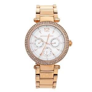 Michael Kors Silver Rose Gold Tone Stainless Steel Parker MK5781 Women's Wristwatch 38 mm