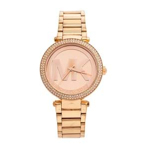 Michael Kors Champagne Rose Gold Plated Stainless Steel Parker MK5865 Women's Wristwatch 37 mm