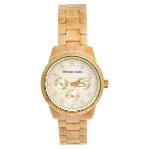 ساعة يد نسائية مايكل كورس جيت سيت MK5039 هورن رزين ستانلس ستيل ذهبي اللون وصدف 37مم