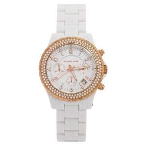 ساعة يد نسائية مايكل كورس MK5379 ستانلس ستيل مطلي ذهب وردي بيضاء 42 مم