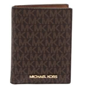 MICHAEL Michael Kors Brown Signature Coated Canvas Jet Set Travel Passport Case