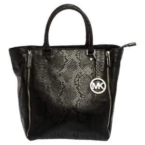 MICHAEL Michael Kors Black Python Effect Nubuck Leather Large New Man Tote