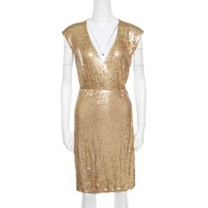 Michael Michael Kors Gold Sequined Wrap Dress S