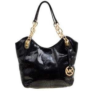 Michael Michael Kors Python Embossed Leather Medium Lilly Chain Tote