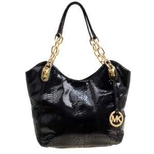 حقيبة يد مايكل مايكل كورس سلسلة ليلي متوسطة جلد نقش ثعبان