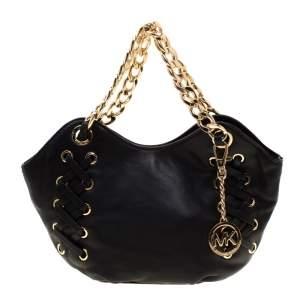 MICAHEL Michael Kors Black Leather Chain Shoulder Bag