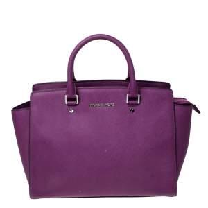 MICHAEL Michael Kors Purple Leather Large Selma Tote
