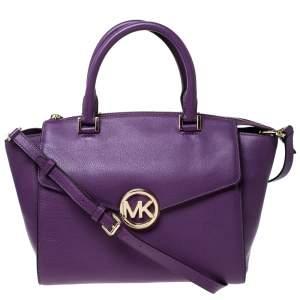 MICHAEL Michael Kors Purple Leather Hudson Satchel