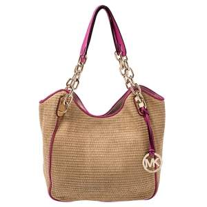 Michael Michael Kors Brown/Pink Woven Raffia and Leather Chain Tote