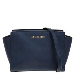 MICHAEL Michael Kors Navy Blue Leather Medium Selma Crossbody Bag