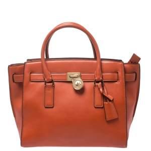 حقيبة يد مايكل مايكل كورس Hamilton  متوسطة جلد برتقالية