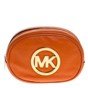Michael Michael Kors Orange Leather Fulton Cosmetic Pouch
