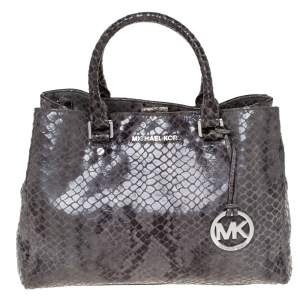 MICHAEL Michael Kors Grey Python Embossed Leather Satchel