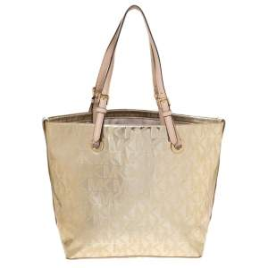 MICHAEL Michael Kors Gold Mirror Signature PVC and Leather Tote