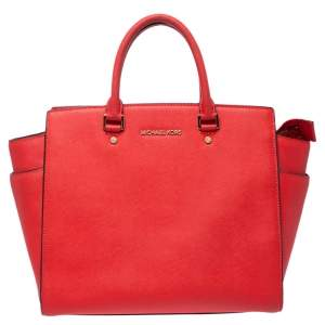 MICHAEL Michael Kors Red Leather Large Selma Tote