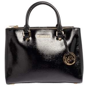 Michael Michael Kors Black Patent Leather Double Zip Tote