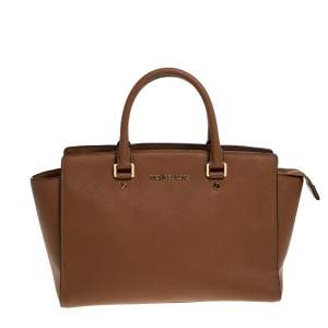 MICHAEL Michael Kors Brown Leather Large Selma Satchel