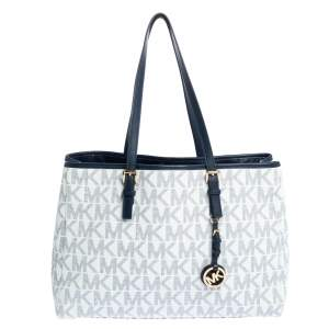 Michael Kors White/Blue Signature Coated Canvas and Leather Tote