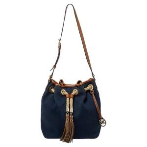 Michael Michael Kors Navy Blue/Brown Canvas and Leather Marina Drawstring Bucket Bag