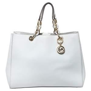 Michael Michael Kors Optic White Leather Large Cynthia Tote