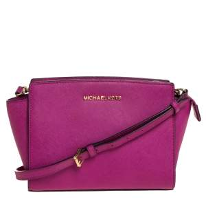 MICHAEL Michael Kors Fuchsia Leather Medium Selma Crossbody Bag