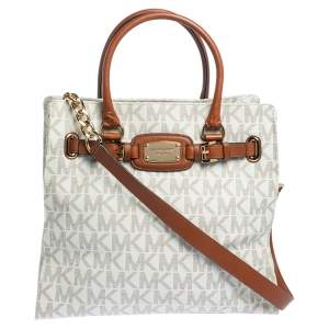 Michael Michael Kors Cream/Brown Coated Canvas and Leather East West Hamilton Tote