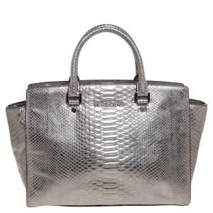 MICHAEL Michael Kors Metallic Silver Python Embossed Leather Large Selma Tote