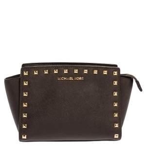 Michael Kors Dark Brown Studded Leather Selma Crossbody Bag